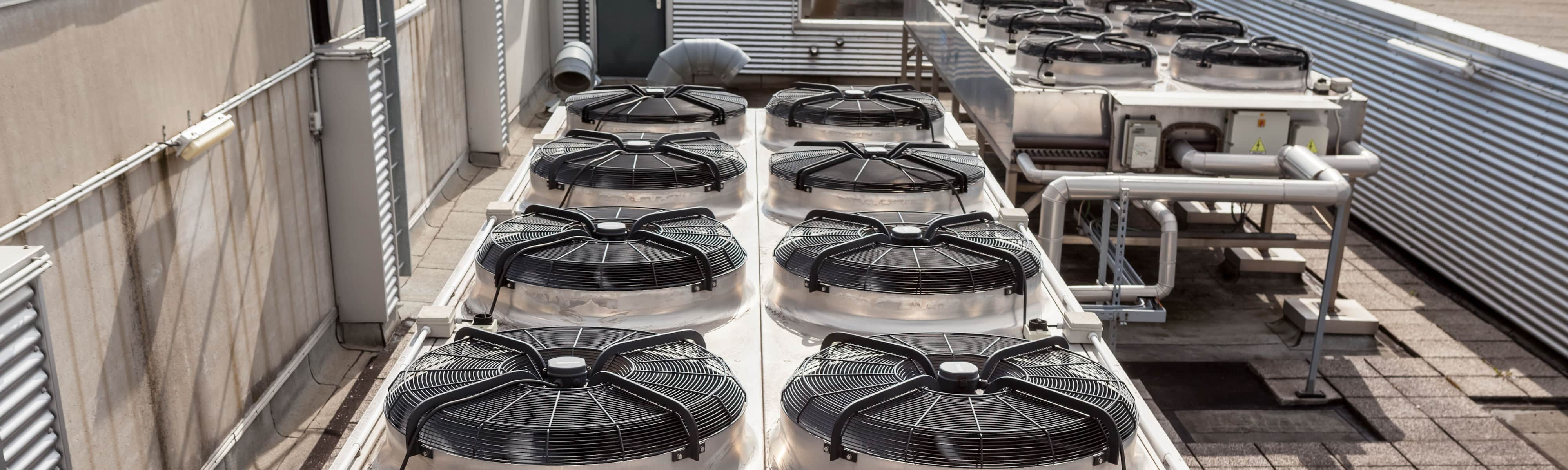 A commercial cooling system on a rooftop.